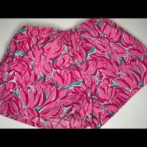 Lauren James Pink Tulips Print Swim Shorts Size S